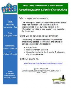 Fostering Student Family Connections flier
