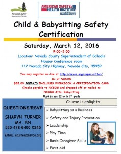Babysitting Flyer - March 12, 2016