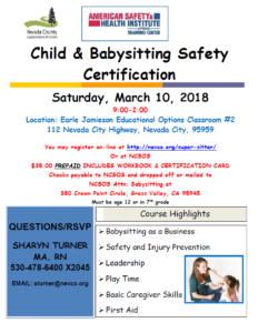 Child and babysitting safety certificate