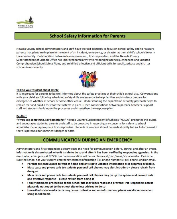 School Safety Information for Parents Flyer