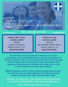 Youth Mental Health First Aid Training Flyer 2019