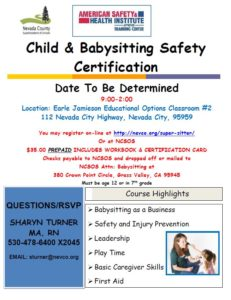 Babysitting Flyer - Date TBD 2019
