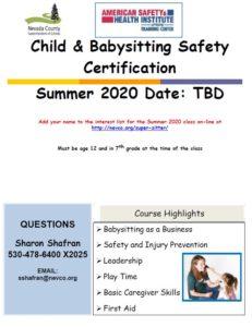 Child & Babysitting Safety Certification Summer 2020 Date: TBD